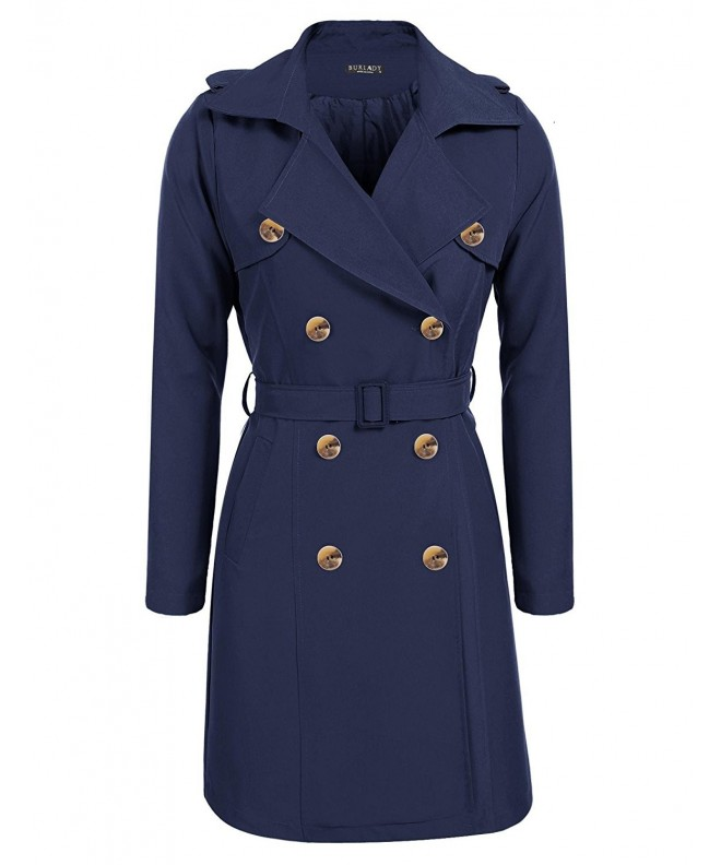 BURLADY Womens Lapel Double Breasted Trench