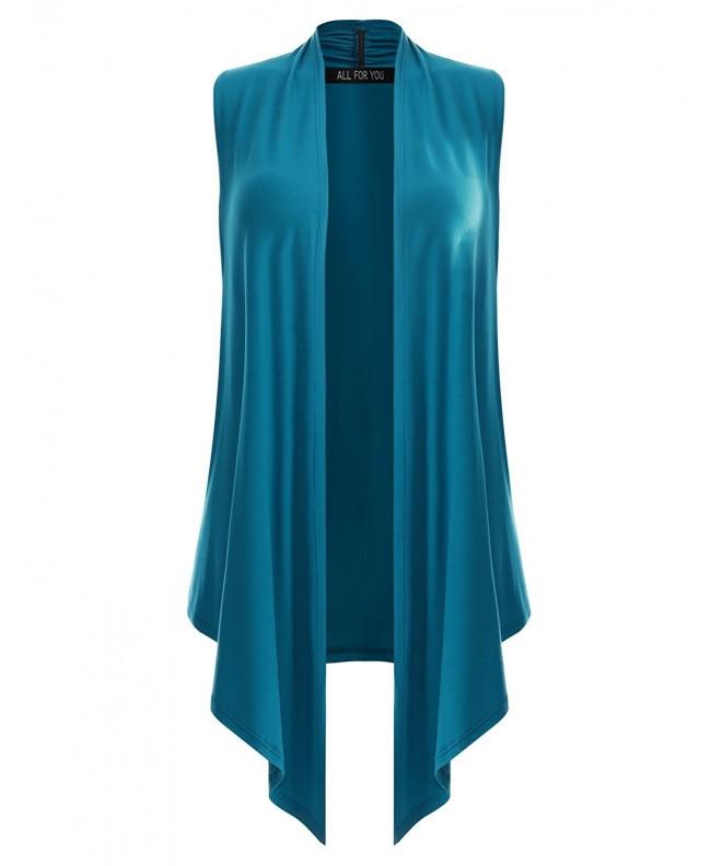 F Y Womens Sleeveless Cardigan Turquoise