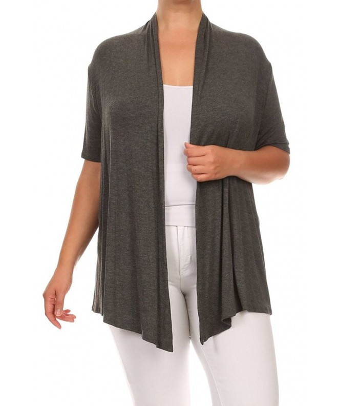 Womens Solid Draped Jacket Cardigan