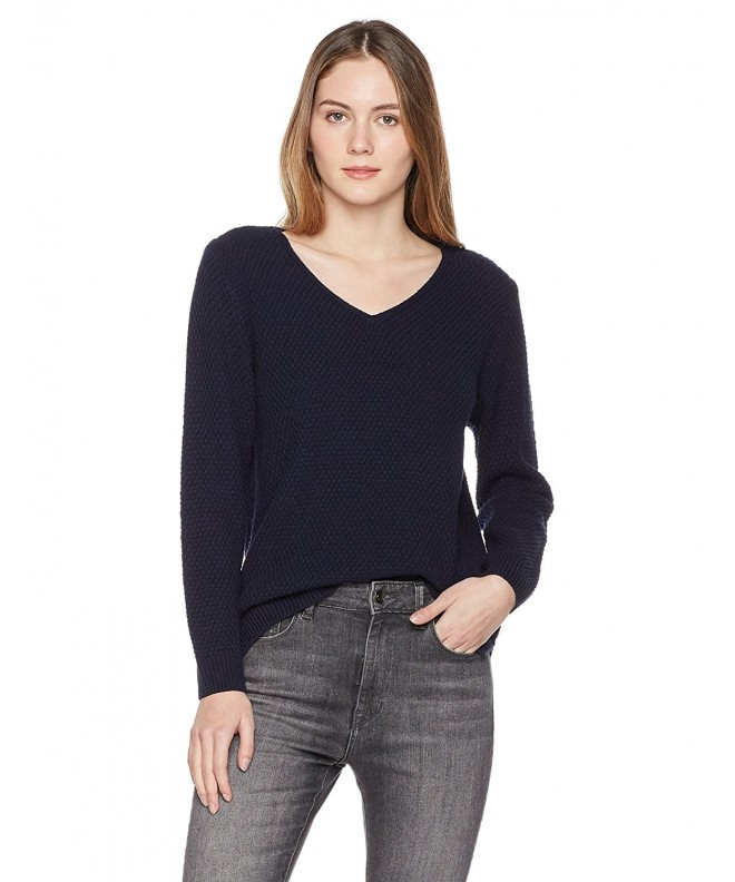 7fd47c169ab Women s V-Neck Long Sleeve Pullover - Navy Peony - C4187IRLONY