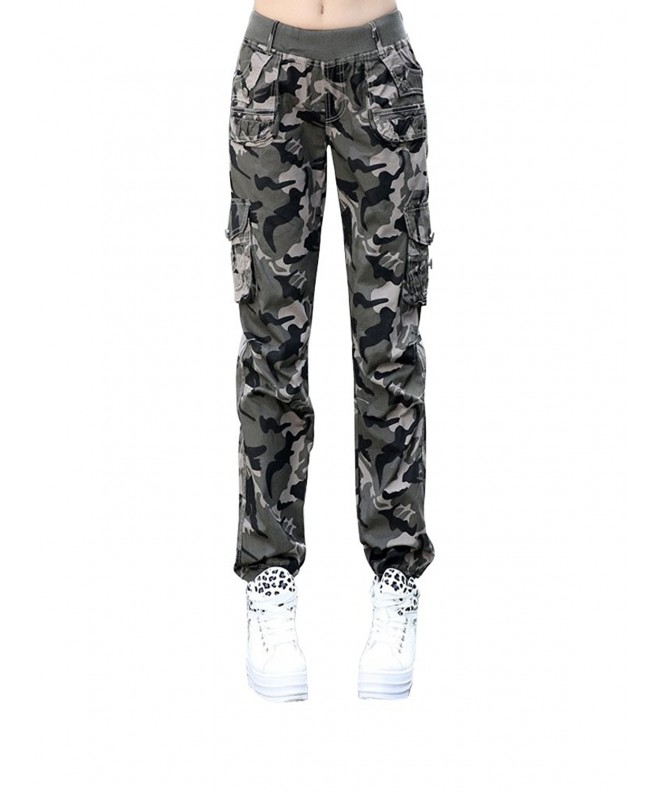 Womens Elastic Sweatpants Camouflage Pockets