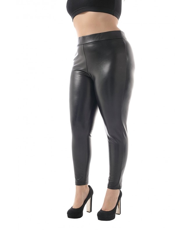 ZERDOCEAN Womens Leather Brushed Leggings