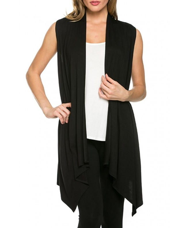 Womens Solid Sleeveless Asymetric Cardigan