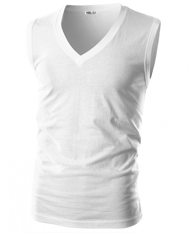 Ohoo Mens Slim Sleeveless DCT019 WHITE 2XL