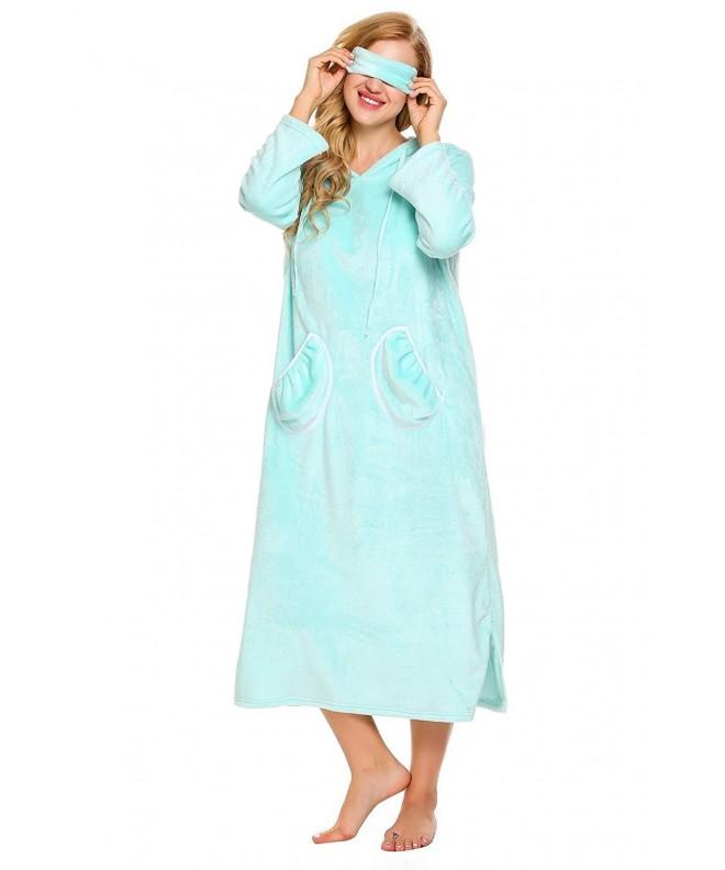 Ekouaer Flannel Sleepwear Homewear Nightgown