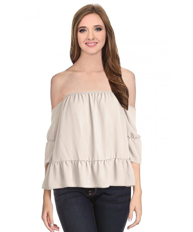 Simlu Strapless Shoulder Chiffon Blouse