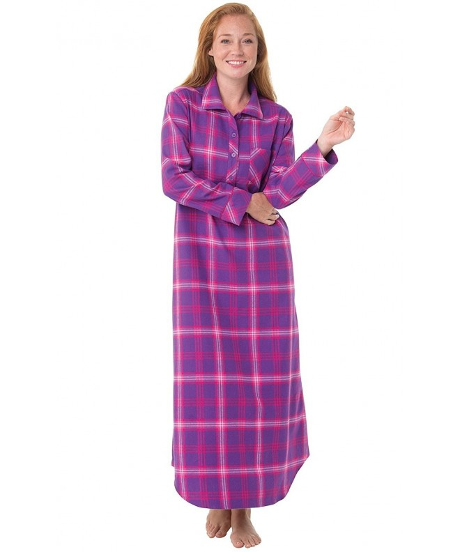 PajamaGram Womens Flannel Nightgown Raspberry
