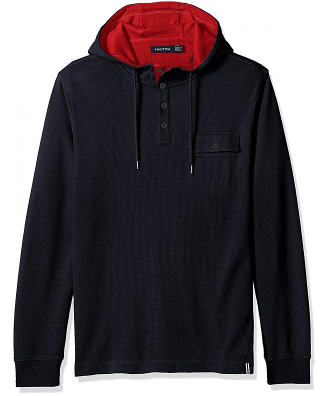 Nautica Mens Hooded Henley Shirt