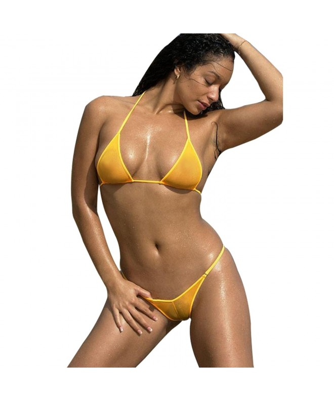 SHERRYLO Through Mesh Bikini Orange