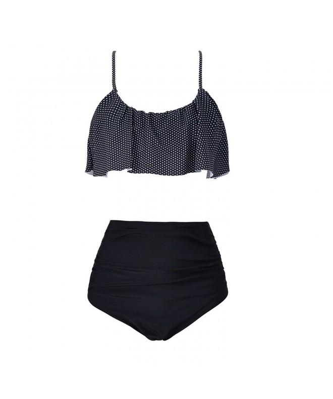 Womens Waisted Bikini Flounce Swimsuit