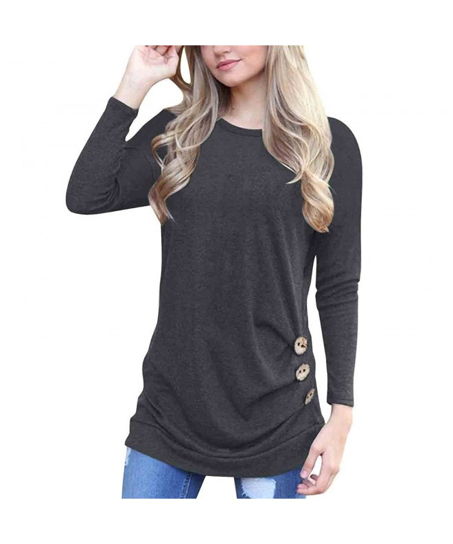 Womens Sleeve Casual T Shirt Buttons