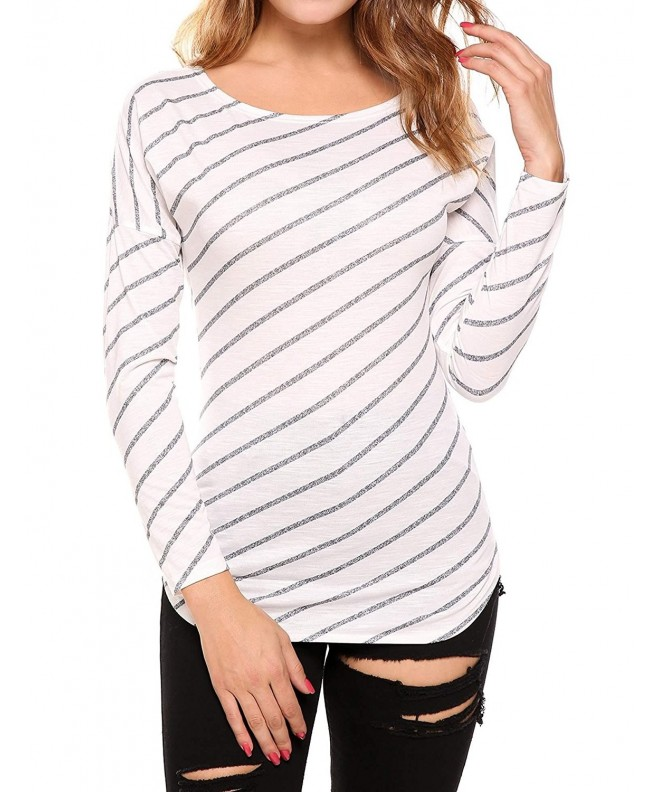 Zeagoo Diagonal Stripes Dropped Shoulder