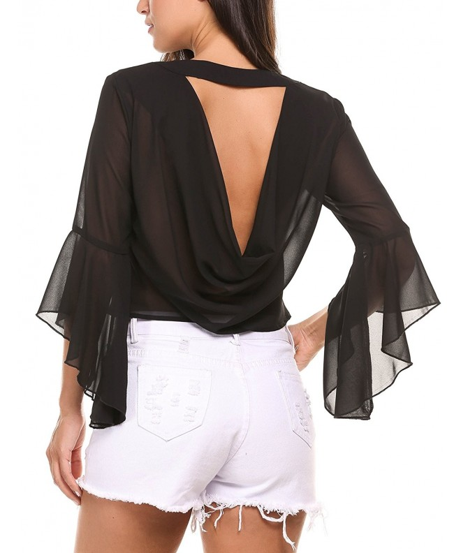 Zeagoo Embroidery Sleeve Backless Blouse