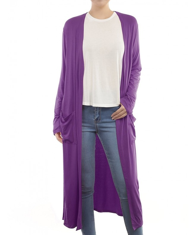 B I L Y Womens Pockets Cardigan Purple