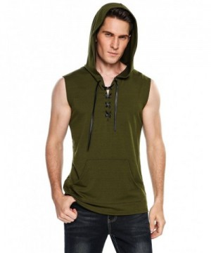 COOFANDY Hipster Sleeveless Lace up Pockets