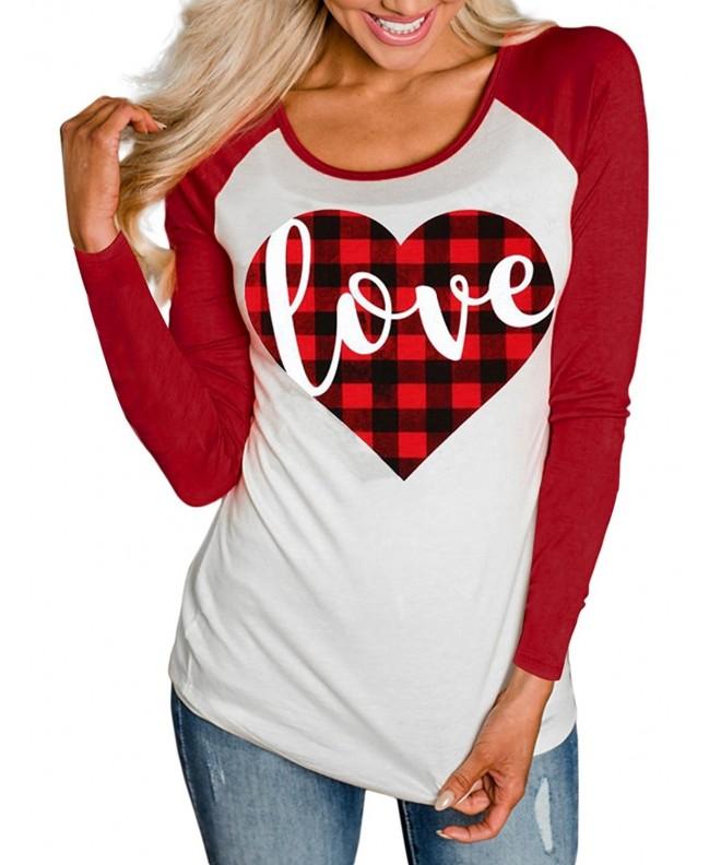 TECREW Womens Raglan T Shirt Valentines