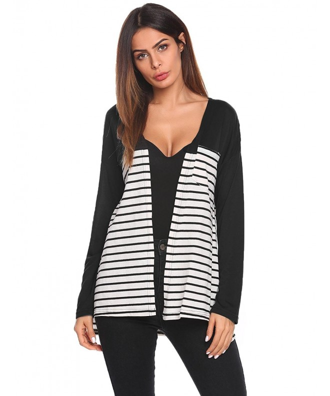 Pinspark Cardigan Casual Striped Sleeve