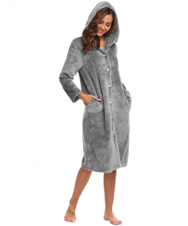 Goldenfox Fleece Bathrobes Women Hhoods