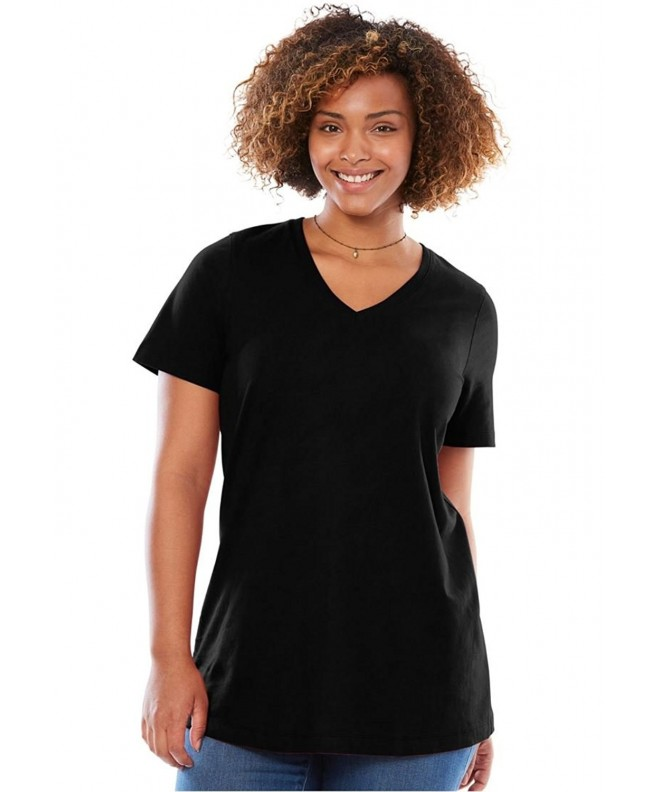 Womens Plus Perfect V Neck Black