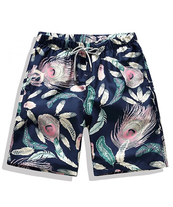 ELETOP Trunks Pockets Peacock Feathers