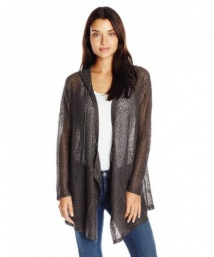 OneWorld Womens Textured Cardigan Charcoal