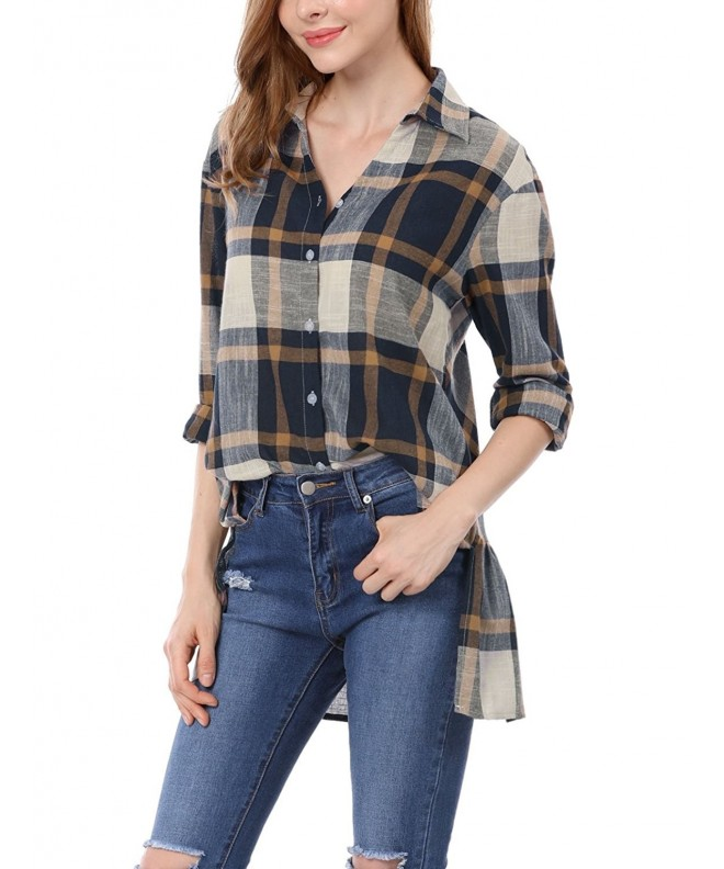 Allegra Womens Plaids Ruffled Boyfriend