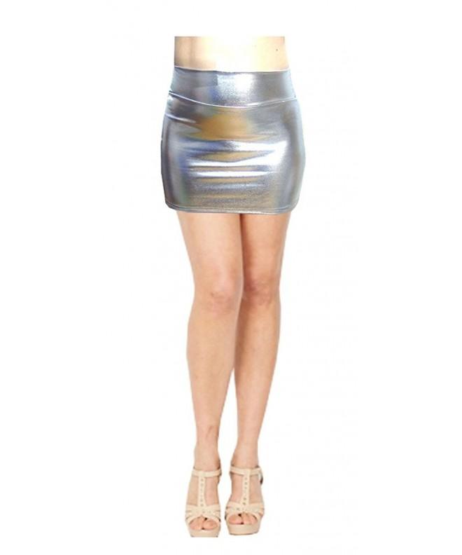SACASUSA Stretchy Metallic Skirts Silver