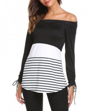 Zeagoo Womens Shoulder Striped Patchwork