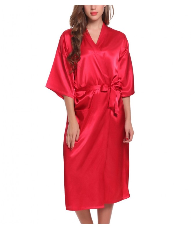 ADORNEVE Kimono Solid colored Bathrobe Nightgown