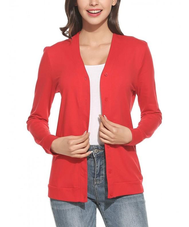 ELESOL Womens Button Classic Cardigan