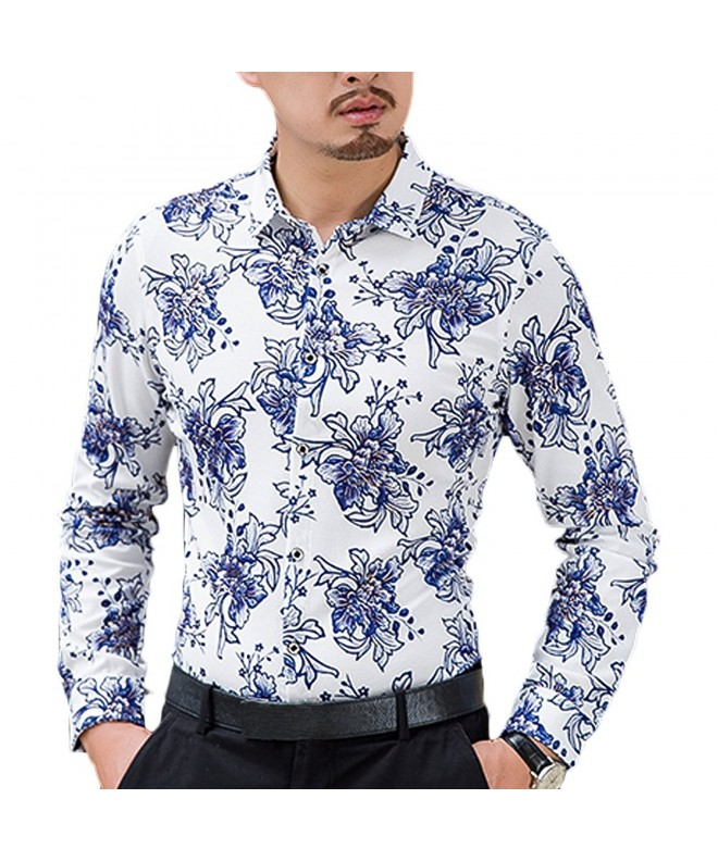 DAVID ANN Casual Floral Button Blue 9960
