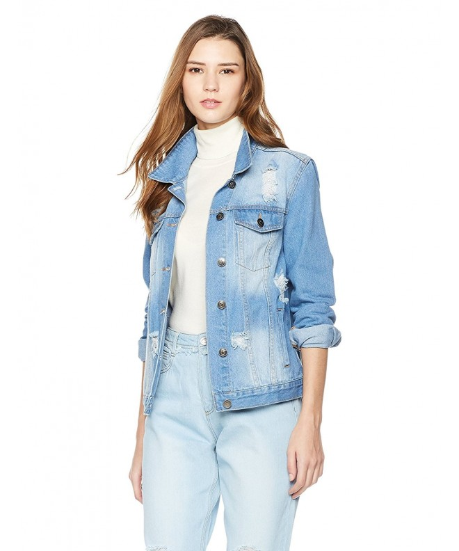 Lily Parker Womens Distressed Button