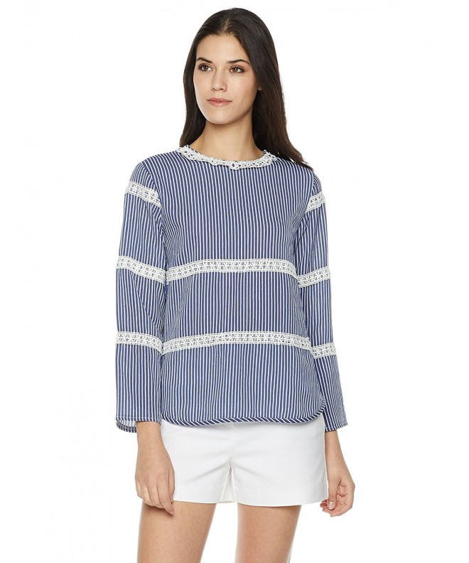 Plumberry Lace Trim Long Sleeve X Large Striped