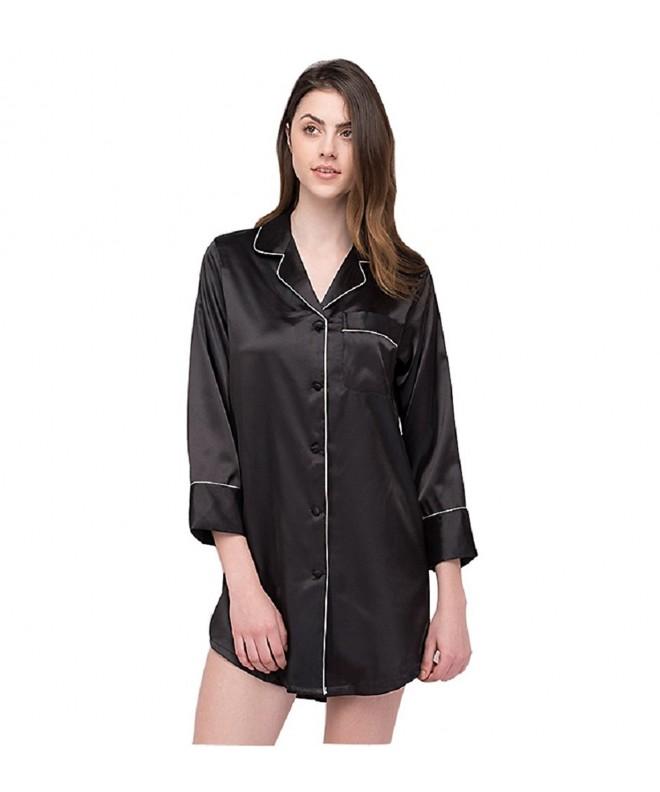 SexyTown Womens Sleepshirt Button Front Nightshirts