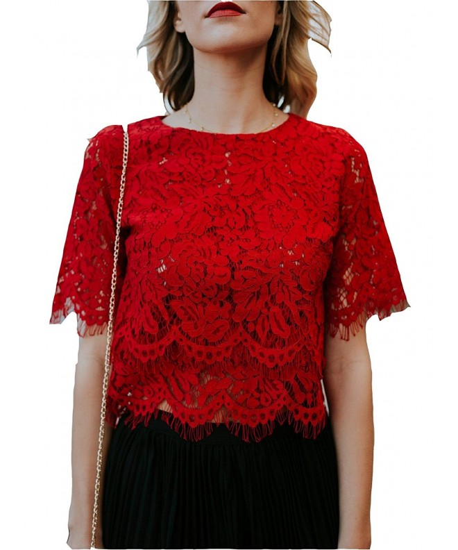 a08ac752577 Womens Short Sleeve Slim Fit Floral Lace Blouse Crop Tops - Red -  CW189AXUMXD