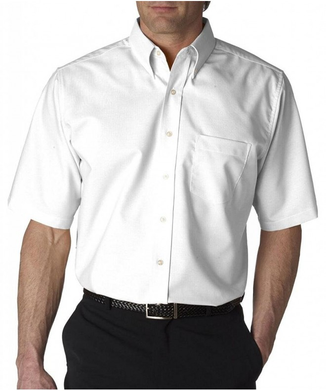 UltraClub Classic Wrinkle Free Short Sleeve Oxford WHITE 2XL