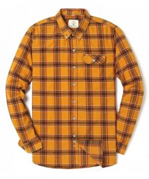 Sleeve Flannel Checkered Button Yellow1