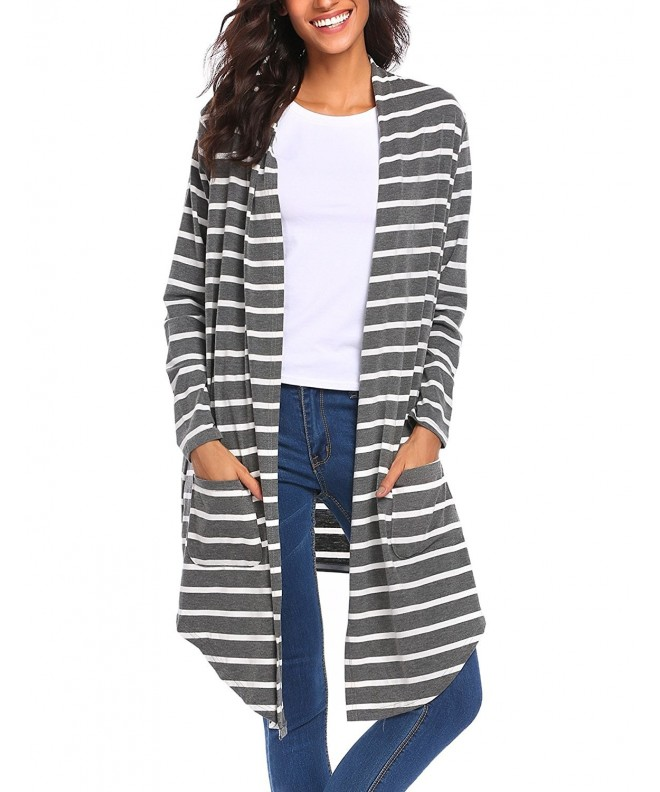 Zeagoo Womens Sleeve Striped Cardigan