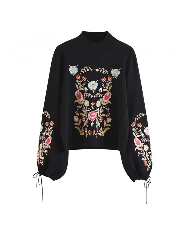 DEZZAL Womens Embroidered Pullover Sweater