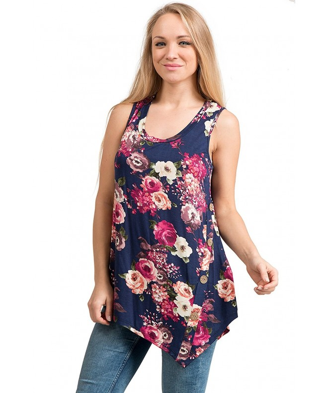 Fashionomics Womens Casual Sleeveless NavyFloral