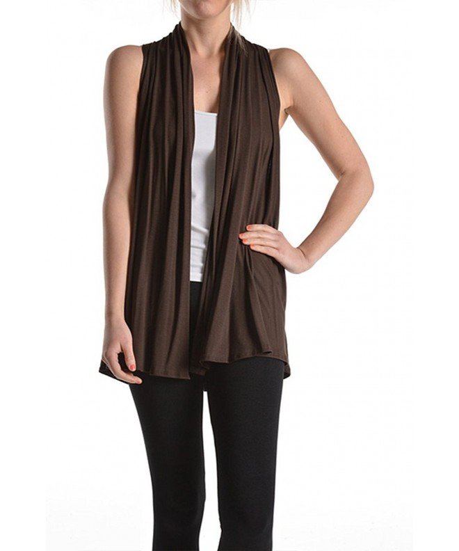 Ever77 Super Comfortable Sleeveless Cardigan TC1005AZ Brown