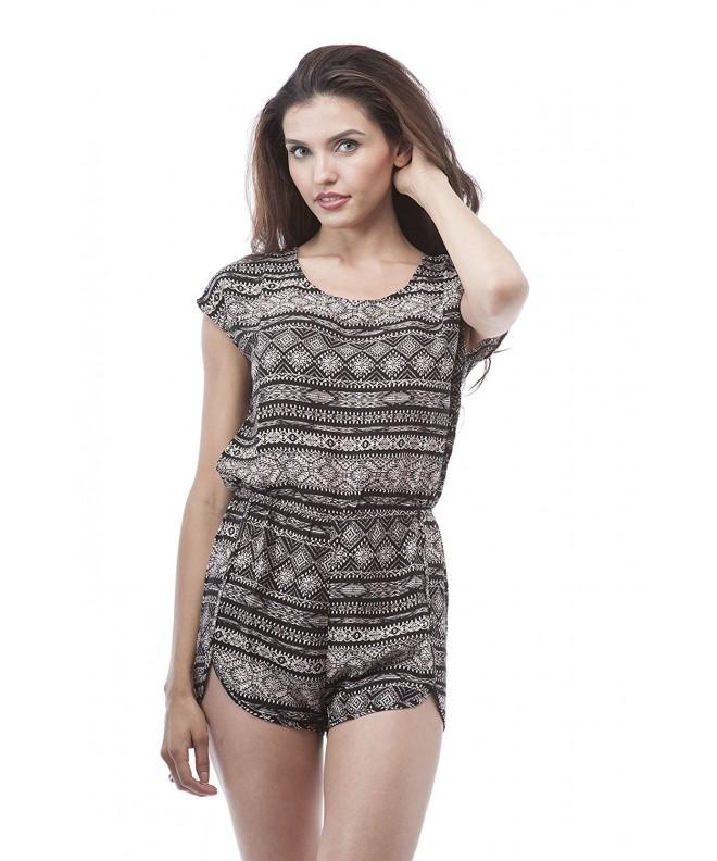 sleeveless Printed Shorts Romper elastic