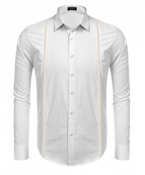 COOFANDY Sleeves Contrast Stitching Guayabera