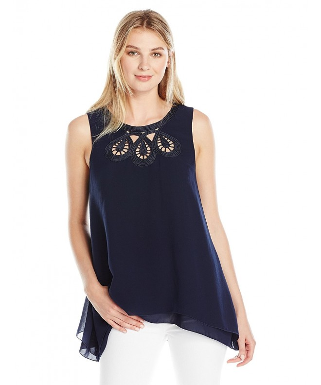Lark Ro Sleeveless Embroidered Neckline