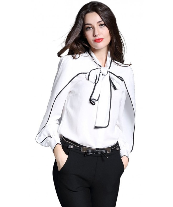 DIFANER Blouses Sleeve Collar Button Down