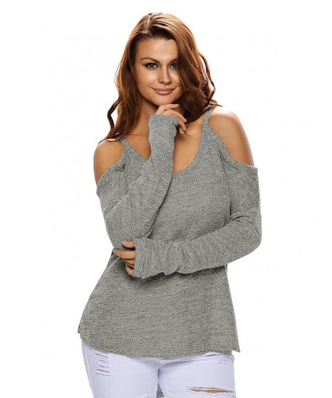 Choies Womens Shoulder Knitted Sweater