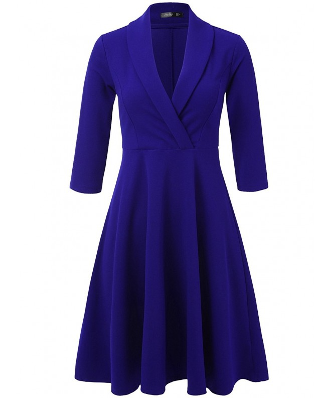 JayJay Women Sleeve Lapel Royalblue