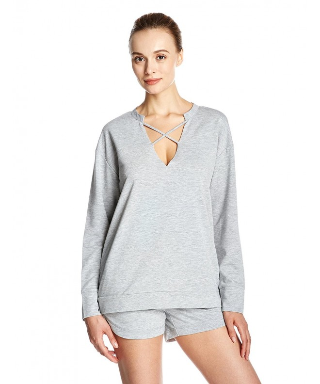 Womens V Neck Sleeves Pullover Heather