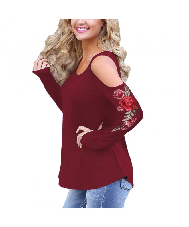 Tulucky Womens Shoulder Embroidered Winered