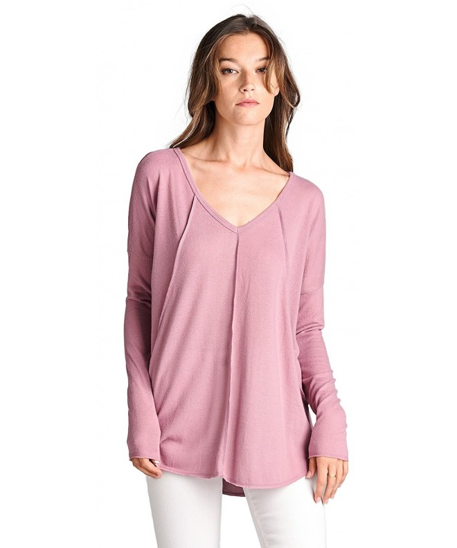 Brushed V Neck Inverted Stitching T15262